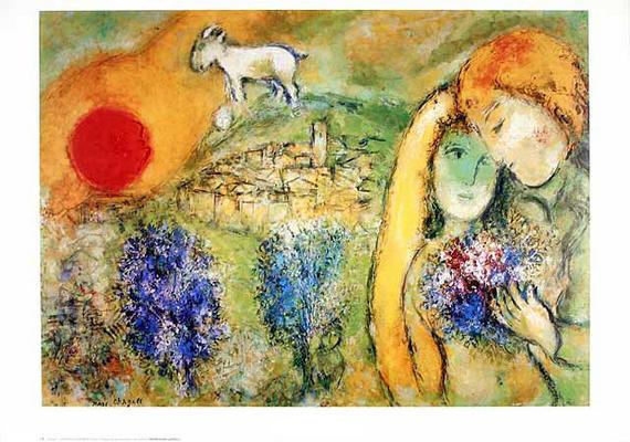 Liebende in Vence - Marc Chagall als Kunstdruck oder ... Chagall Afbeeldingen