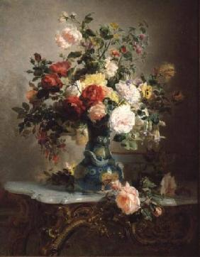 Vase of Roses and Other Flowers 1866
