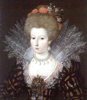 Portrait of a lady in a high lace collar and jewelled silk costume early 17th