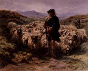 The Highland Shepherd, watercolour
