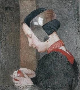 Portrait of a Lady Peeling an Apple