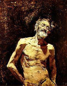 Kunstdruck von Mariano Fortuny - Aktstudie eines alten Mannes beim Sonnenbad.