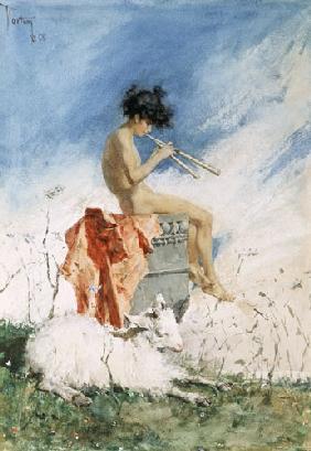 Kunstdruck von Mariano Fortuny - Idylle Schalmei blasender Knabe