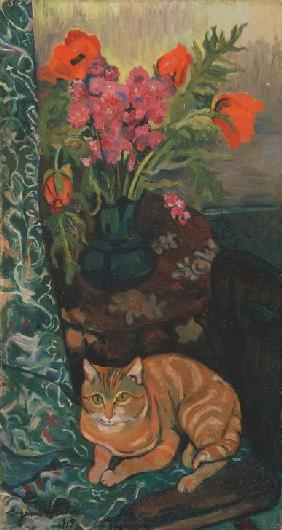 Bouquet et chat 1919