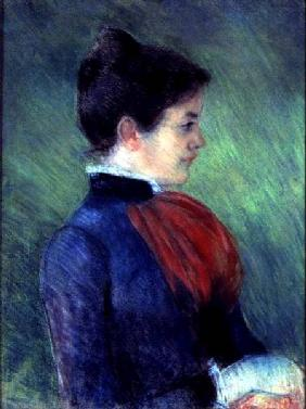 Study of a Woman in a Blue Blouse with a Red Ruff 1895 stel