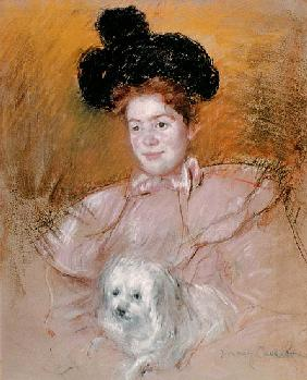 Woman holding a dog