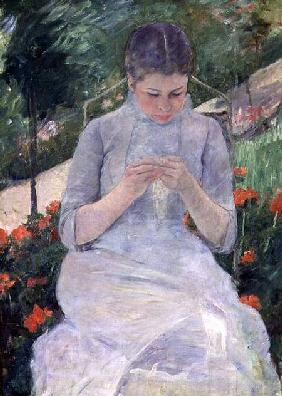 Young Woman Sewing in the garden c.1880-82