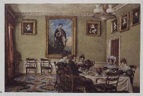 Dining room at Langton Hall, family at breakfast c.1832-3