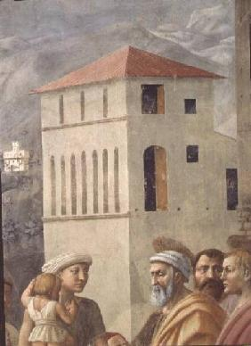St. Peter Distributing the Common Goods of the Church, and the Death of Ananias, (Detail of the back c.1427