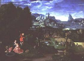The Rest on the Flight into Egypt, landscape painted by Joachim Patinir