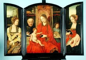 The Holy Family with St. Catherine and St. Barbara, triptych