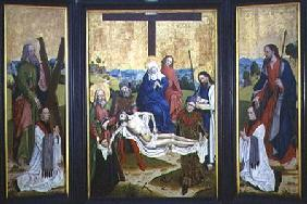 Altarpiece with a pieta and donors in centre panel; St. Andrew and St. John on the side panel c.1480-90