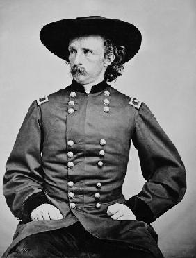 Portrait of General A. Custer (1839-1876) (b/w photo) 19th