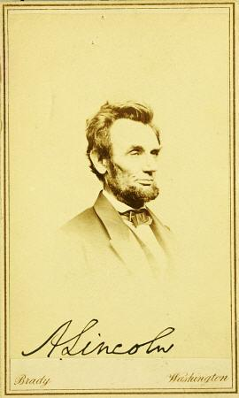 Signed Photographic Portrait Of Abraham Lincoln, 1864