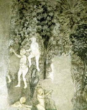 Detail of men bathing from the decorative scheme in the Hall of the Popes 1437