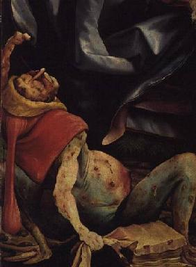 Suffering Man, detail from the reverse of the Isenheim Altarpiece c.1510-15