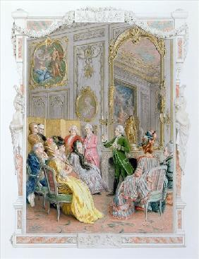 A Literary Soiree, 1890 (colour litho)