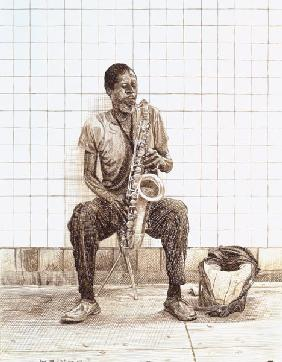 Max Ferguson - Subway Saxophone, 1998 (ink on paper)