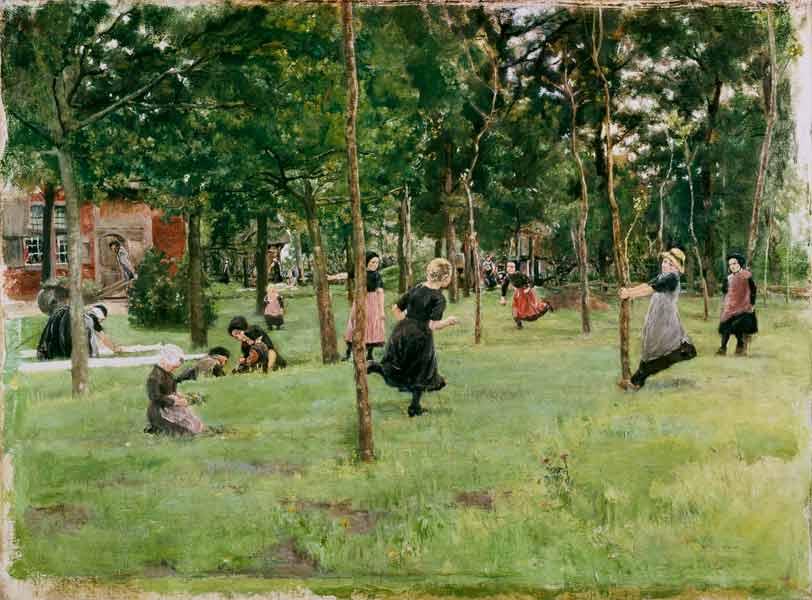 Spielende Kinder im Park. - Max Liebermann als Kunstdruck oder ...