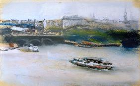 Binnenalster with the Lombardsbrucke, Hamburg, 1910 (pastel on paper) 15th