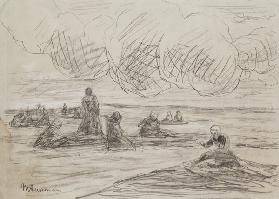 Repairing the Nets, 1894 (pencil on paper) 15th