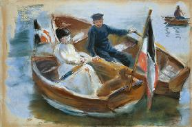 Two Boats with Flags, Wannsee, 1910 (pastel on paper) 1910