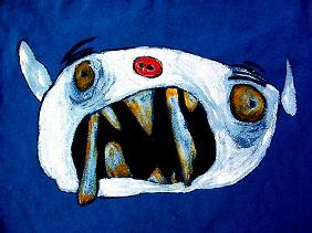 Monster with long teeth (mixed media)
