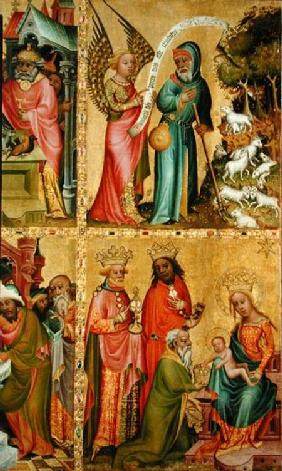 The Annunciation to St. Joachim and the Adoration of the Magi, from the left wing of the Buxtehude A 1400-10