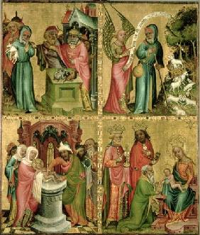 Joachim's Sacrifice, the Circumcision of Christ, the Annunciation to St. Joachim and the Adoration o 1400-10