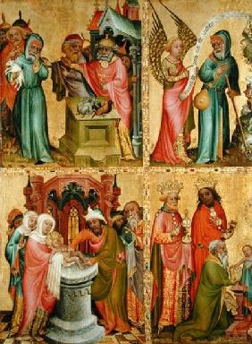 Joachim's Sacrifice and the Circumcision of Christ, from the left wing of the Buxtehude Altar 1400-10