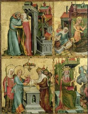 Meeting at the Golden Gate and the Presentation in the Temple, from the Buxtehude Altar 1400-10