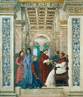 Pope Sixtus IV (1414-84) (Francesco della Rovere) Installs Bartolommeo Platina as Director of the Va c. 1477