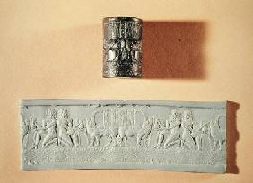 Akkadian cylinder seal and impression of Shar-kali-sharri (c.2217-c.2193 BC) King of Akkad, Mesopota c.2340-210