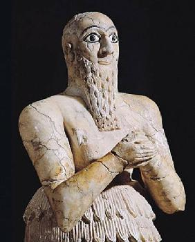Detail of a statue of Itur-Shamagen, King of Mari, at prayer, from Mari, Middle Euphrates 2800-2300