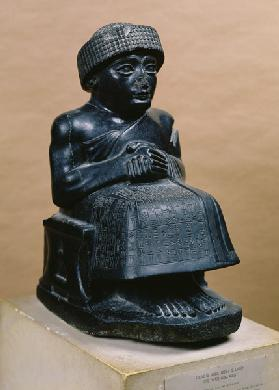 Gudea, Prince of Lagash, statue dedicated to Ningizzada, Neo-Sumerian, from Telloh, ancient Girsu c.2130 BC