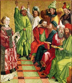 St. Stephen before the Judges, from the Altarpiece of St. Stephen, c.1470