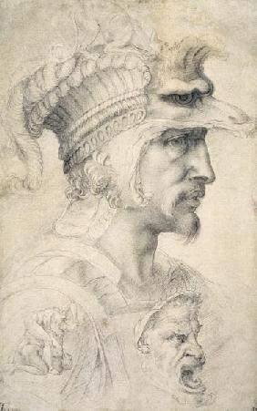 Michelangelo (Buonarroti) - Study of Warrior's Head