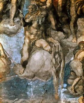 Sistine Chapel Ceiling: The Last Judgement, detail of St. Bartholomew holding his flayed skin 1538-41