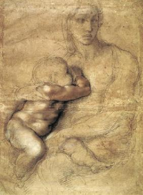 Michelangelo (Buonarroti) - Madonna and child, c.1525 (pencil & red chalk on paper)