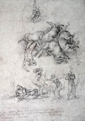 Michelangelo (Buonarroti) - The Fall of Phaethon, black chalk