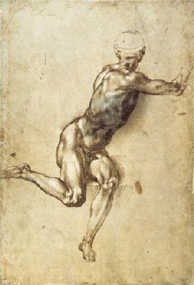 Michelangelo (Buonarroti) - Figure Study for Battle of Cascina, 1504 (pen, brush, brown and grey