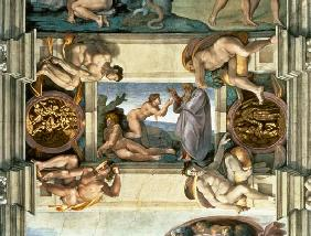 Sistine Chapel Ceiling: Creation of Eve, with four Ignudi 1510