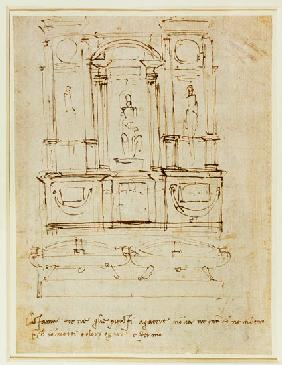 Michelangelo (Buonarroti) - Inv.1859-6-25-543.recto (w.28) Study for the Tomb of Pope Julius II (brown ink)
