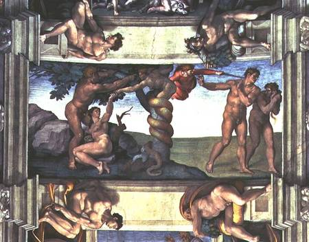 Sistine Chapel Ceiling The Fall Of Man Michelangelo