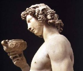 The Drunkenness of Bacchus, detail of his head, sculpture by Michelangelo Buonarroti (1475-1564) 1496-97