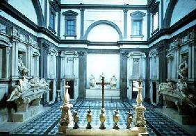 View of the interior designed by Michelangelo Buonarroti (1475-1564) showing the Medici tombs of Lor 1520-24 an