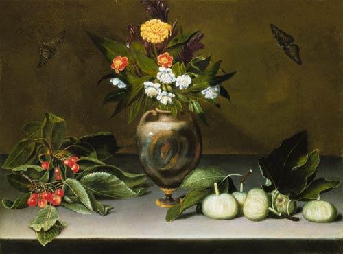 Bild michelangelo caravaggio vase mit blumen kirschen feigen und