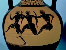 A foot-race, detail from an Attic black-figure amphora, c.520-500 BC (pottery) (for reverse see also 20th