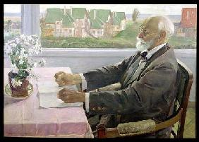Ivan Petrovich Pavlov (1849-1936) in his House at Koltushy, near St. Petersburg 1935