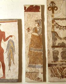 Three wall painting fragments: the 'Fisherman', the 'Priestess' and an 'Ikrion', removed from the We c.1500 BC